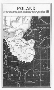 Edward Henry Lewinski Corwin's map of Polish-German borders in the 12th century (published in 1917, US)