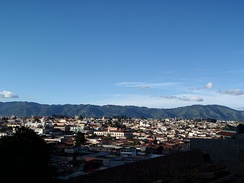 Skyline of Quetzaltenango from the surrounding mountainside in 2009.