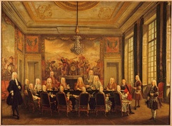 The duc d'Orléans' Council with Cardinal Fleury sitting at the Palais-Royal: Gobelins tapestry overdoors are woven with the Orléans arms