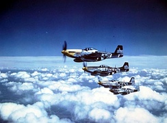"""The Bottisham Four"", four USAAF North American P-51 Mustang fighters from the 375th Fighter Squadron, 361st Fighter Group, from RAF Bottisham, Cambridgeshire (UK), in flight on 26 July 1944. All four aircraft were lost or crashed by the end of the war in Europe."