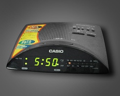 A bedside clock radio that combines a radio receiver with an alarm clock