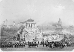 Procession carrying Napoleon's remains through Paris (15 December 1840). The return and ceremony were meticulously prepared by Thiers, though he was no longer Minister