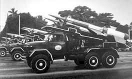 "Cuban S-125 ""SA-3 Goa"" missile systems on parade. Many were shipped to Angola in 1988 to provide air cover for Castro's offensive.[34]"