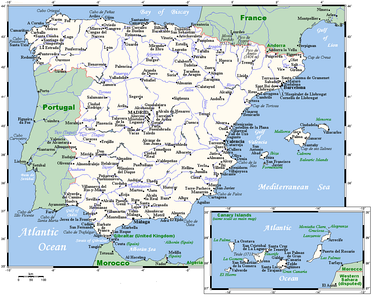 Spain's cities and main towns.