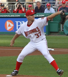 Strasburg pitching in his MLB debut