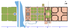 Plan of the Taj complex with the Mehtab Bagh gardens to the left
