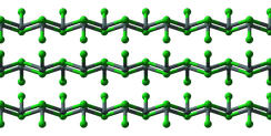 Ball-and-stick models of the structure of solid stannous chloride (SnCl2).[35]