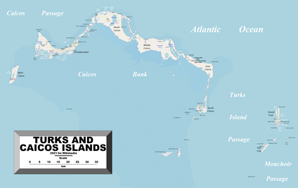 Another, more detailed map of the Turks and Caicos Islands. The different shorelines shown in this one may arise from each map showing the islands at different tides.