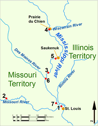 The Upper Mississippi River during the War of 1812. 1: Fort Bellefontaine U.S. headquarters; 2: Fort Osage, abandoned 1813; 3: Fort Madison, defeated 1813; 4: Fort Shelby, defeated 1814; 5: Battle of Rock Island Rapids, July 1814 and the Battle of Credit Island, Sept. 1814; 6: Fort Johnson, abandoned 1814; 7: Fort Cap au Gris and the Battle of the Sink Hole, May 1815