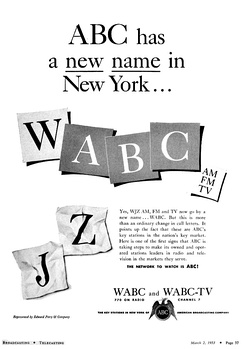 1953 advertisement announcing the call letter change from WJZ to WABC.[23]