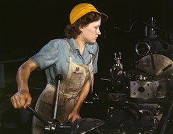 A female factory worker in 1942, Fort Worth, Texas. Women entered the workforce as men were drafted into the armed forces.