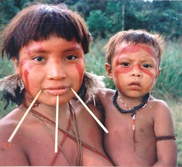 The ancestors of Native Americans, such as this Yanomami woman, crossed into the Americas from Northeast Asia, and genetic and linguistic evidence links them to North Asian populations, particularly those of East Siberia.[159]