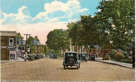 Post Road, in Fairfield Center, in a 1934 photo