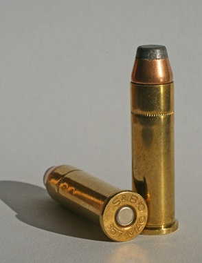 Two .357 Magnum cartridges showing bottom and side views.