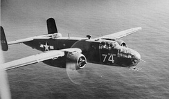 USAAF B-25C/D. Note the early radar with transverse-dipole Yagi antenna fitted to the nose