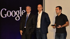 Eric Schmidt, Andy Rubin and Hugo Barra at a 2012 press conference announcing Google's Nexus 7 tablet
