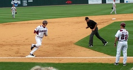 Andy Wilkins rounds third base following a home run for the 2010 Arkansas Razorbacks baseball team.