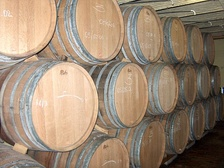 Wooden lambic barrels at Hanssens
