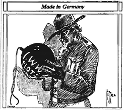 A newspaper editorial cartoon from 1917, critical of the IWW's antiwar stance during World War I