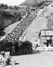 """Stairs of Death"" at Mauthausen-Gusen with prisoners forced to carry a granite block up 186 steps to the top of the quarry."