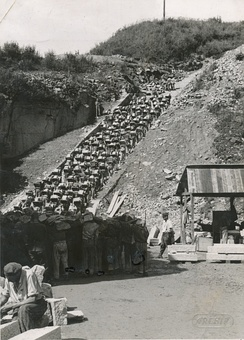 "The Todesstiege (""stairs of death"") at the granite quarry in Mauthausen concentration camp in Austria (opened 1938); inmates were forced to carry heavy rocks up the stairs.[172]"