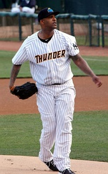 C C Sabathia of the New York Yankees with the Trenton Thunder in July 2014