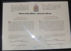 A naval officer's commission with the Canadian Armed Forces