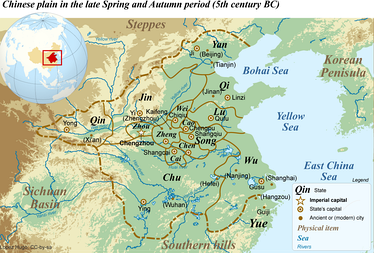 Map of the Chinese plain at the start of the Warring States Period in the 5th century BC, showing the locations of the states of Yue and Wu.