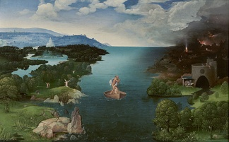 "Joachim Patinir (1480–1524), Landscape with Charon Crossing the Styx, 1515–1524. Patinir pioneered the ""world landscape"" style."