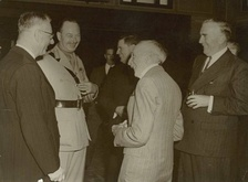 Prime Ministers Curtin, Fadden, Hughes, Menzies and Governor-General The Duke of Gloucester 2nd from left, in 1945.