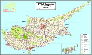 A map showing the main roads and cities of Cyprus