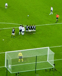 Beckham lining up a free kick for England in June 2008