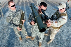 82nd Airborne Division soldiers during familiarization training of M3 recoilless rifle at Fort Bragg, North Carolina in December 2011.