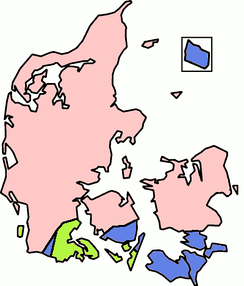 A map showing the distribution of stød in Danish dialects: Dialects in the pink areas have stød, as in standard Danish, while those in the green ones have tones, as in Swedish and Norwegian. Dialects in the blue areas have (like Icelandic, German, and English) neither stød nor tones.