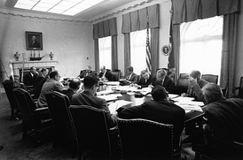 EXCOMM meeting at the White House Cabinet Room during the Cuban Missile Crisis on October 29, 1962.