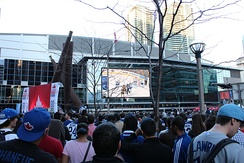 A popular gathering point during Maple Leafs and Raptors playoff runs, the arena has a large video screen that overlooks the atrium of Maple Leaf Square.