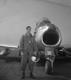 F/L E. A. Glover was attached to the United States Air Force during the Korean War and was the leading Canadian scorer, having destroyed three MiG-15s. He won the Commonwealth DFC and the American DFC.