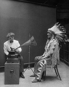 Frances Densmore recording Blackfoot chief Mountain Chief on a cylinder phonograph for the Bureau of American Ethnology (1916)