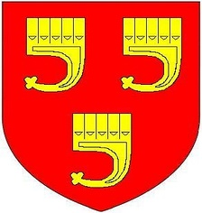 Arms of Grenville: Gules, three clarions or