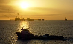 Ship and oil rigs in the Gulf