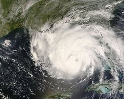 Hurricane Gustav in the southeastern Gulf of Mexico as a Category 3 storm