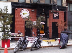 The former Hells Angels clubhouse at 77 East 3rd Street between First and Second Avenues in the East Village neighborhood of Manhattan, New York City