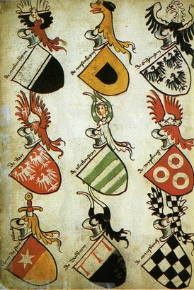 The German Hyghalmen Roll was made in the late 15th century and illustrates the German practice of repeating themes from the arms in the crest. (See Roll of arms).