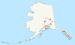 Map of routes in Alaska that receive funding from the Interstate program, but are not signed as Interstate Highways