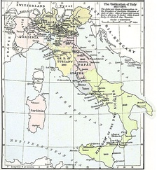 Italian unification process between 1815 and 1870