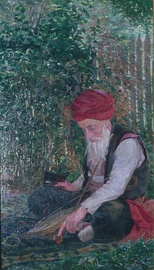 A Bosnian playing gusle, painting by Ivana Kobilica, ca. 1900.