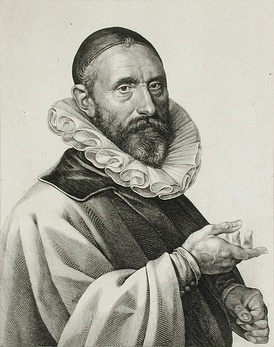 A 1624 portrait of Sweelinck, engraved by Jan Harmensz. Muller.