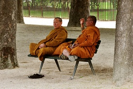 Two monks in orange robes