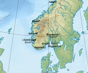 Locations of the Germanic tribes described by Jordanes in Norway
