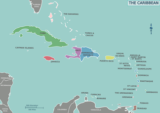 Contemporary political map of the Caribbean